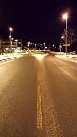 Oslo Winter Diserted Illuminated Night No People Road Marking Street Street Light