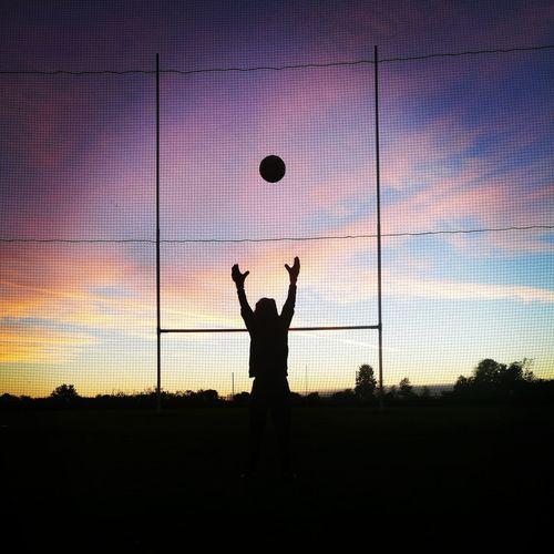training 'till the sun goes down. Goalkeepers Goalkeeper Goal Post Goalie Football Sunset Human Arm Throwing