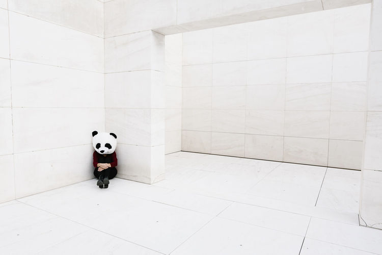 Toy on floor against white wall