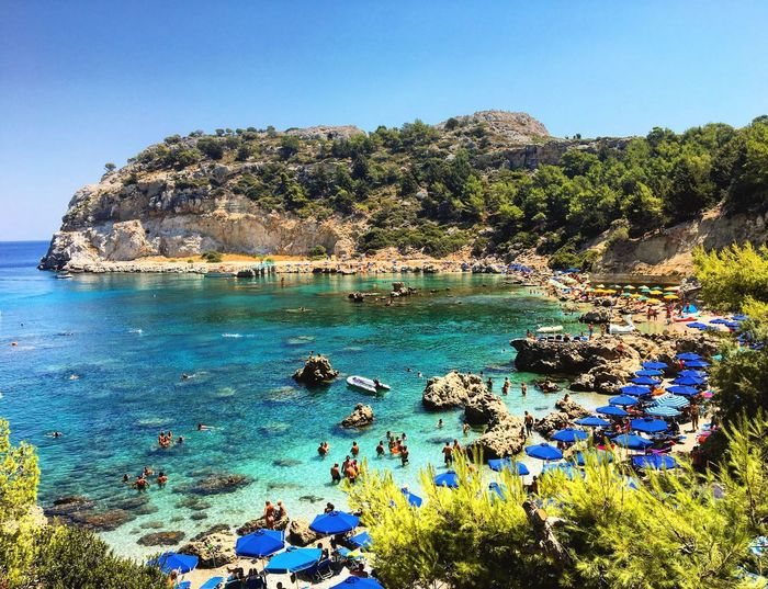 Rhodes Remember Sea Water Clear Sky Blue Scenics Beach Bay Nature Rock - Object Love ♥ Enjoying Life Nature Nature Photography