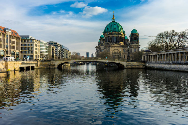 Museumsinsel - Berliner Dom Berlin Dome  Berliner Dom Museum Island Museumsinsel Architecture Bridge - Man Made Structure Building Exterior Built Structure City Cloud - Sky Connection Day Dome Nature No People Outdoors Place Of Worship Religion River Sky Spirituality Travel Destinations Water Waterfront
