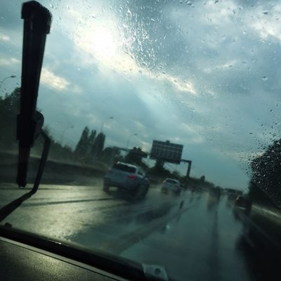 Rain Car Transportation Transparent Sky On The Move Travel Journey Window Road Street Water Season  Glass - Material Weather Road Trip