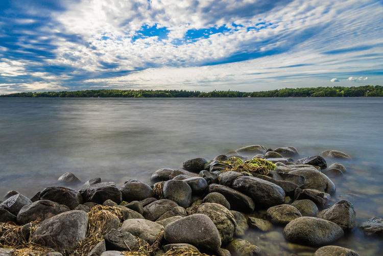Canada Border Blue Cloud Cloud - Sky Cloudy Lake Nature Shore Sky Sky And Clouds Stone Stones & Water Water Waterfront