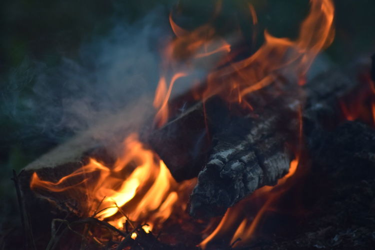 Close-up of burning fire