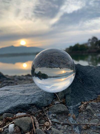 Reflection on the Lake Lensball Fremont Lake Elizabeth Sunrise Morning Sphere Reflection