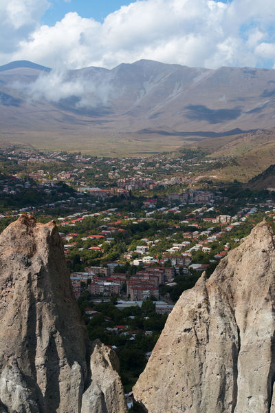 A mountain top view of Goris city, Armenia. Armenia Architecture Beauty In Nature Building Building Exterior Built Structure Cloud - Sky Day Environment Landscape Mountain Mountain Peak Mountain Range Nature No People Outdoors Rock Rock - Object Scenics - Nature Sky Solid TOWNSCAPE Tranquil Scene