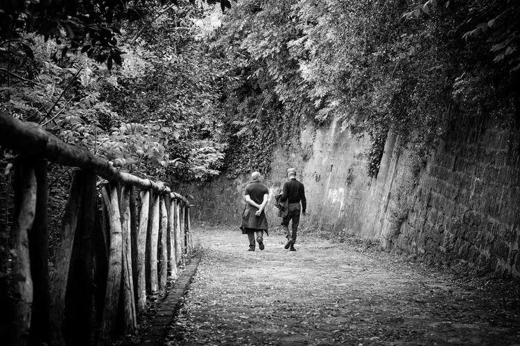 Rear view of men walking on dirt road by wall