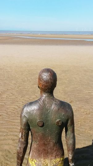 Water Beach Sand Wet Sea Day Outdoors Statue Bronze Another Place By Anthony Gormley Another Place Crosby Beach Skyline Cloudy Views Countrylife Cloud - Sky Sea And Sky Man Looking Out Skylines