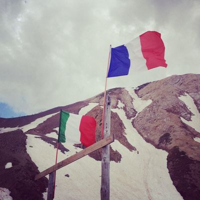 Flags France Italy Mountain