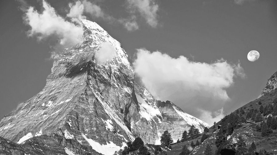 Mountain Beauty In Nature Scenics Mountain Peak Matterhorn Switzerland Alps Blackandwhite Black And White Snow Moon Europe Snowcapped Mountain Tranquil Scene Landscape Landscape_photography Landmark EyeEm Best Shots - Black + White