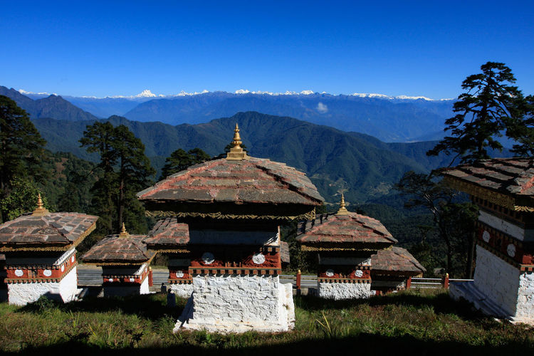 View of temple against mountain range