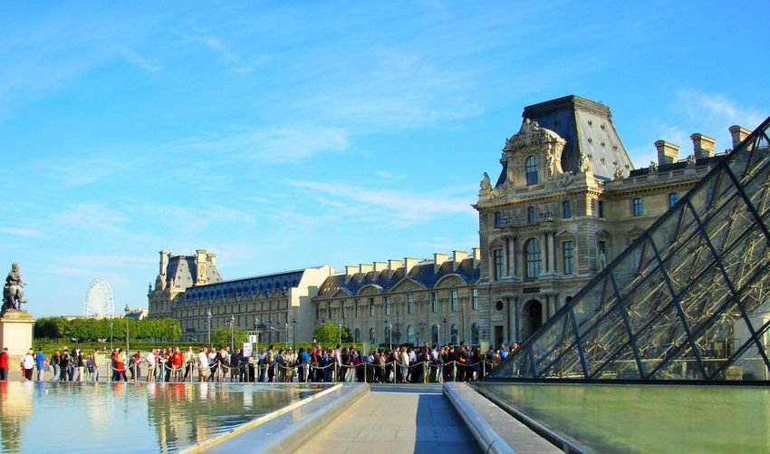 Architecture Built Structure Building Exterior Sky Group Of People Large Group Of People Real People Travel Travel Destinations Tourism Day History Water Building Outdoors Musée Du Louvre Paris, France  Van Gango Waiting In Line Art Passion