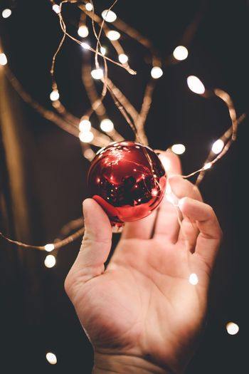 It's christmas time 🎁 Human Hand Red Close-up Human Body Part Holding Illuminated One Person Christmas Celebration Christmas Decoration Christmas Ornament Indoors  Night Christmas Bauble People