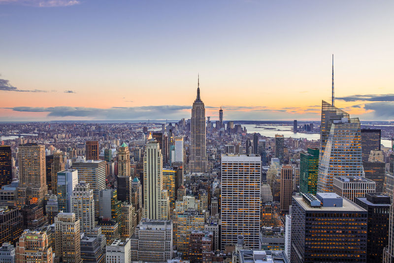 Aerial view of ny city at sunset