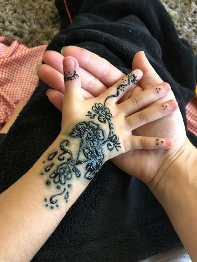 Close-Up Of Hands With Henna Tattoo