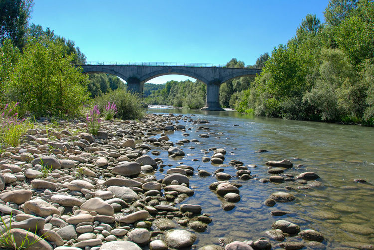Arch Arch Bridge Architecture Bridge - Man Made Structure Built Structure Creek Farigliano Piedmont Italy Nature No People River Rocks And Water Sky Stone Tanaro Water
