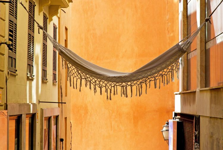 Hammock in Palma de Mallorca Mallorca Hammock SPAIN Relax Palma De Mallorca Palma Summer Recovery Vacation Lying House Home Colorful Color Orange Meditation Leisure Outdoors Freedom Warm Mediterranean  Lifestyle Fun