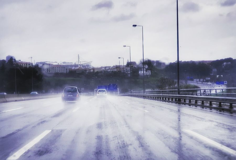 Rain Winter Snow Road Illuminated Cold Temperature Car Tree Sky Cloud - Sky