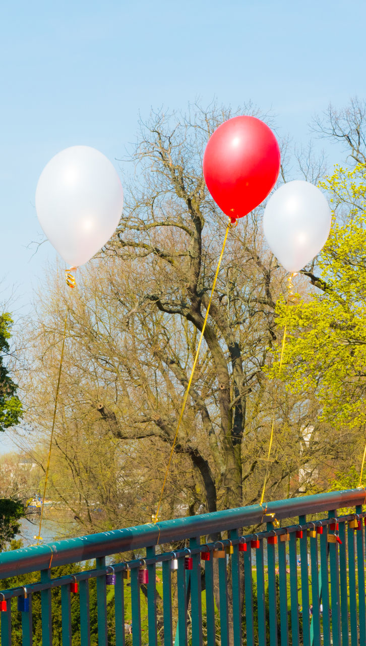 balloon, helium balloon, tree, mid-air, railing, red, multi colored, celebration, helium, bare tree, day, outdoors, flying, nature, no people, branch, clear sky, sky