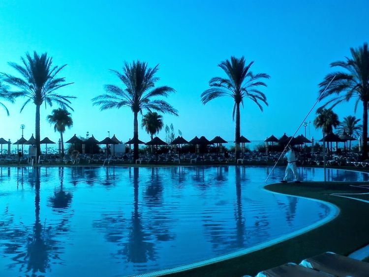 taken at a Holiday Village in Spain Holiday Spain🇪🇸 CostadelSol Sunset Pool Swimming Pool Tourism