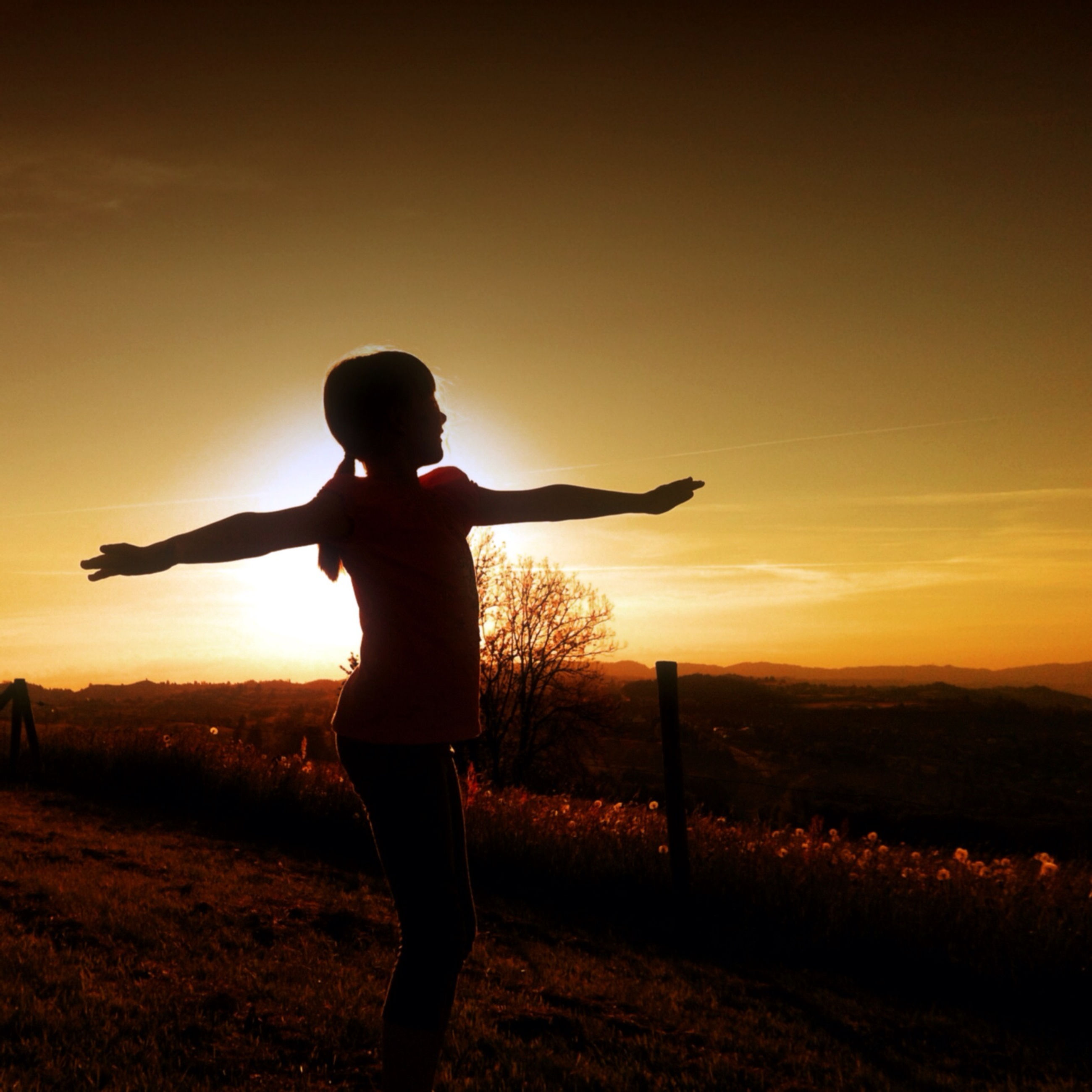 sunset, silhouette, full length, leisure activity, sky, lifestyles, landscape, standing, field, orange color, tranquil scene, tranquility, scenics, beauty in nature, nature, horizon over land, sun, arms outstretched