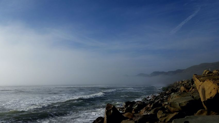 Relaxing Landscape Serenity Outdoor Photography Mountain View Life Is A Beach Beach Photography Oceanfront Beachview Fog Fog Over Water California Coast Fog Rollin' In No People Mypointofview Waves Crashing Oceanview My Sky Obsession...