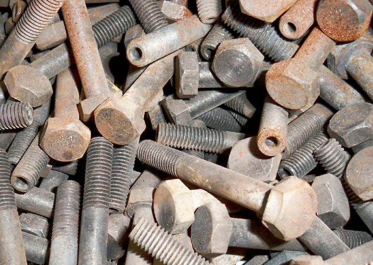Full frame shot of rusty nuts