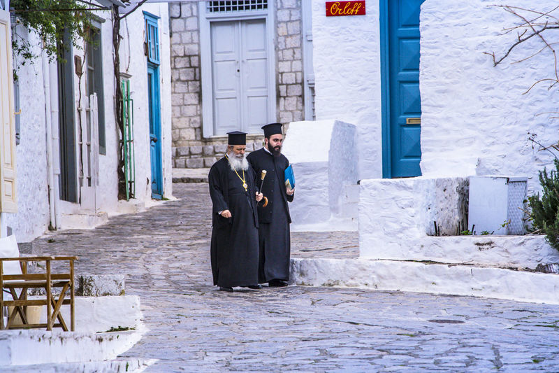 Architecture Building Exterior Built Structure Casual Clothing Day Full Length Outdoors Religion, Greece, Priest, Relgious, Europe, Moment, Island, Religious