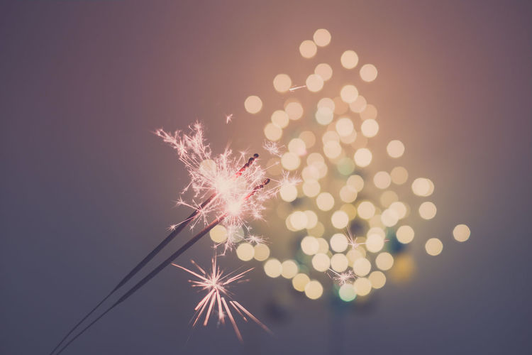 Close-up of illuminated sparklers