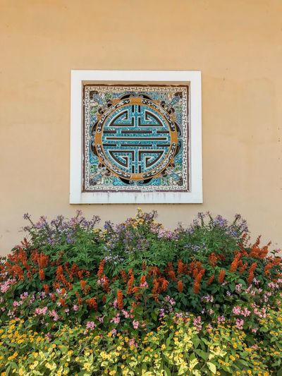 Blooming Flower Orange Wall  Decoration Art Mosaic Tiles Mosaic Historical Building History Past Chinese Style Window Flower Bed Flower Plant Wall - Building Feature Architecture Flower Built Structure Flowering Plant No People Window Growth Nature Building Exterior Outdoors Art And Craft Building Pattern Creativity Multi Colored