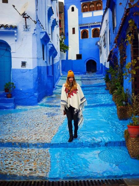 wandering through the pearls Chefchaouen Morocco Blue Bluecity Architecture Aztec Poncho Arabic Northafrica Africa Pearls Walley