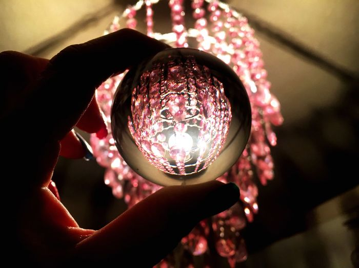 Close-up of hand holding crystal ball