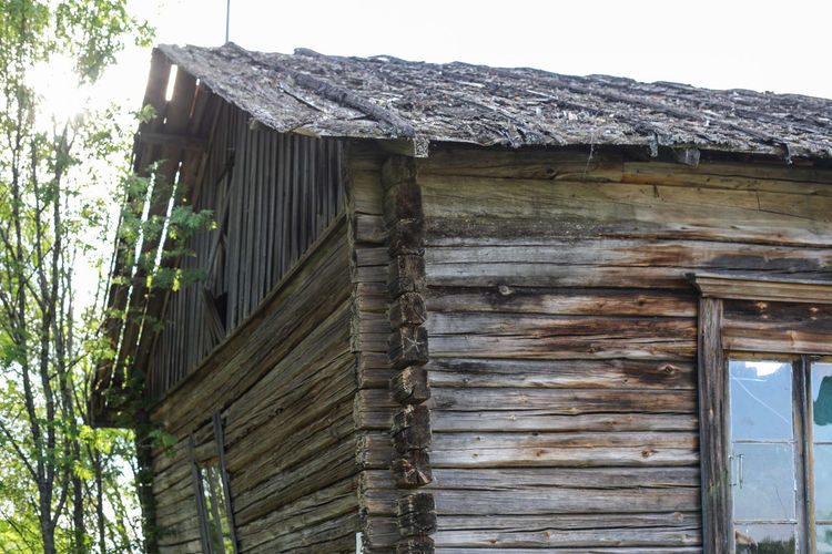 Low angle view of old wooden building