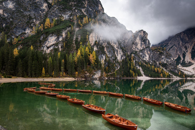 Panoramic view of boats in lake
