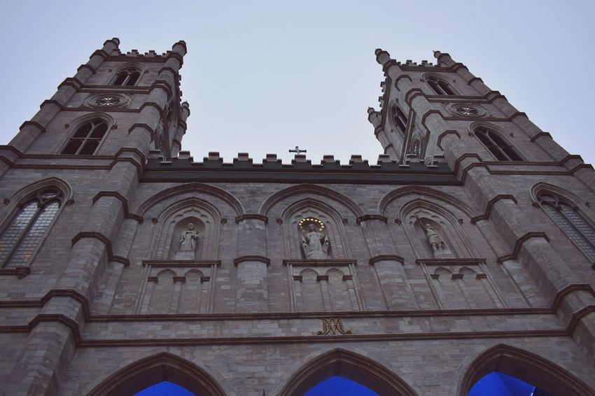 Evening walking around Vieux Montreal, looking at the wonderful old architectureThe Architect - 2017 EyeEm Awards Architecture Low Angle View Arch Building Exterior History Travel Destinations Religion Day Outdoors Notre Dame Basilica Montreal EyeEmNewHere