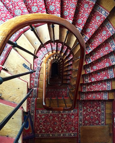 Directly above shot of spiral staircases