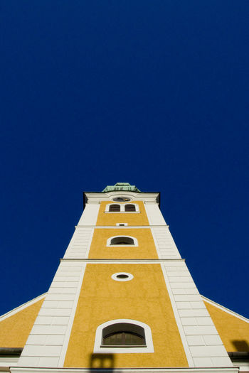 Architecture Blue Building Building Exterior Church Clear Sky Low Angle View No People Outdoors Sky Yellow Colour Of Life
