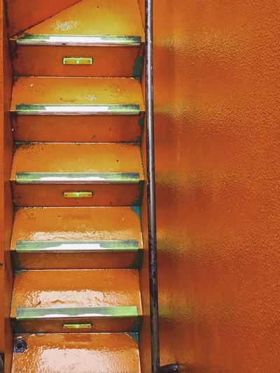 Close-up Singaporebus Full Frame No People Outdoors Day Busteps Stairway Orange Color