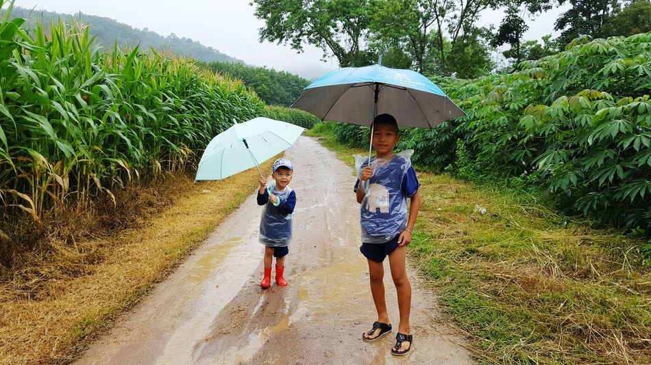 Falling rain ..☔☔ Two People Full Length Child Boys Togetherness Lifestyles Real People Vitality Tree Family Girls Outdoors Motion Beach Brother Leisure Activity Bonding Son People Sand Children Nature_perfection Chiangmai Chiang Mai | Thailand Nature