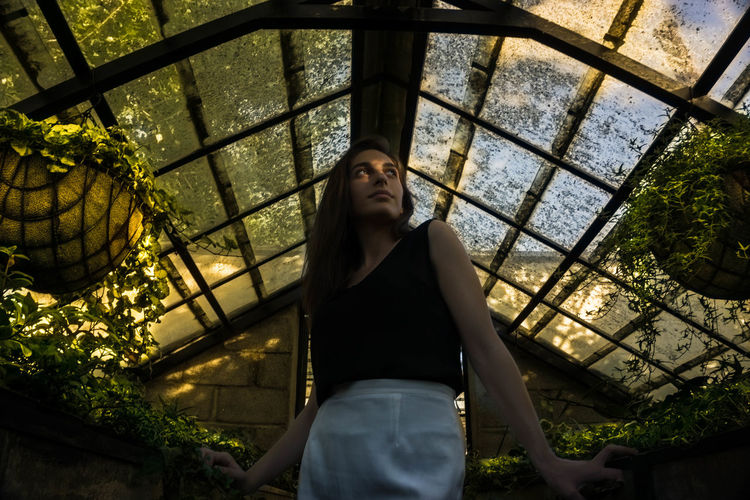 Low Angle View Of Young Woman Looking Up While Standing In Greenhouse