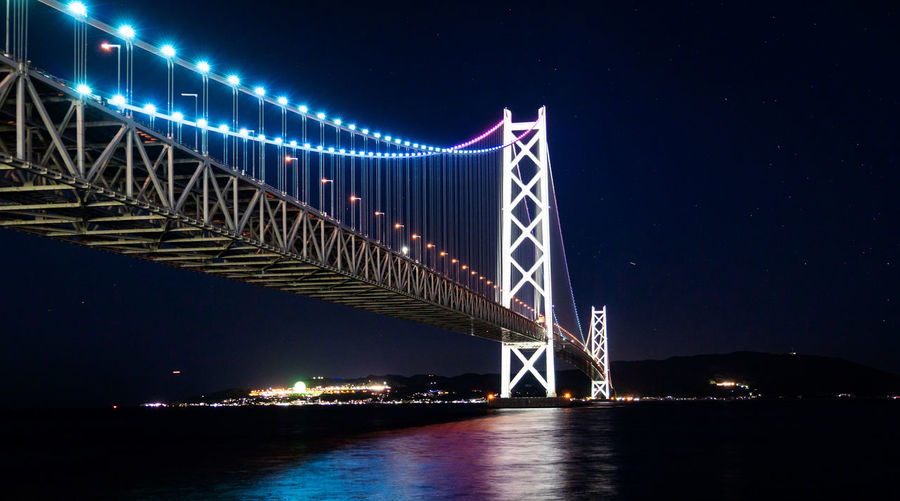 Night Illuminated Bridge Water Bridge - Man Made Structure Built Structure Connection Sky Architecture No People Transportation River Nature Waterfront Travel Destinations Suspension Bridge Low Angle View Outdoors Bay