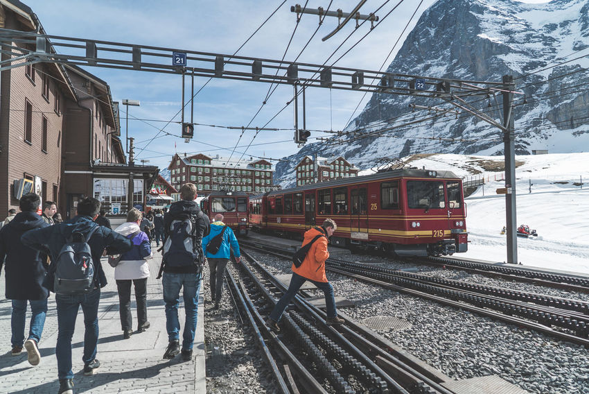 Near the base of Jungfrau, Switzerland. I love the atmosphere, feeling everyone's excitement as they journey up the mountain. Excitement Mountain People Railroad Track Snow Tram Transportation Travel Winter