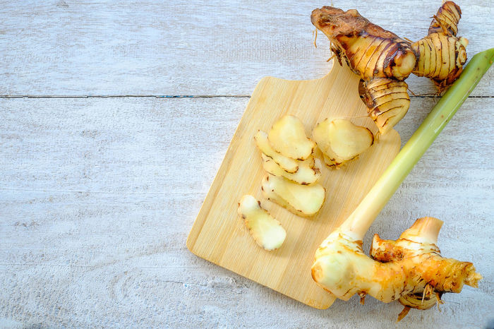 Thai Herb Galangal. Agriculture Alpinia Green Herb Hot Natural Nature Raw Thai Background Food Fresh Galanga Galangal Healthy Healthy Eating Ingredient Organic Rhizomes Root Spice Vegetable White