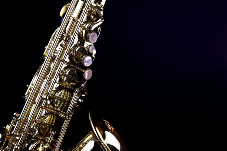 Music Instrument Alto Saxophone, Saxophone Isolated on black Music Musical Instrument Arts Culture And Entertainment Studio Shot Copy Space Black Background Wind Instrument Musical Equipment Indoors  Brass Instrument  Metal No People Shiny Saxophone Gold Colored Close-up Brass Jazz Music Cut Out Still Life