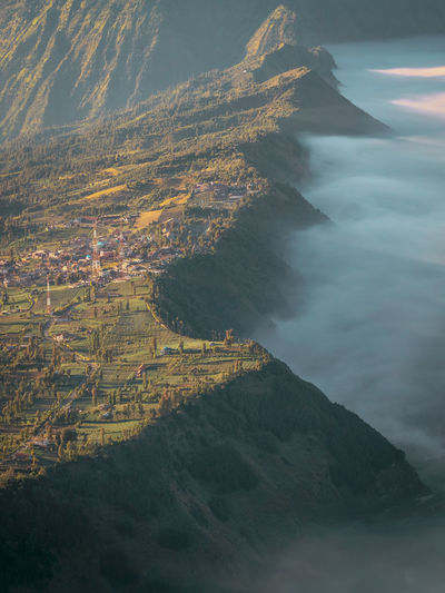 The landscape Sunrise Sunrise_sunsets_aroundworld Morning Mountain Beauty Aerial View Arts Culture And Entertainment Rural Scene Sky Foggy Terraced Field Rice Paddy Fog Farmland Mist Cultivated Land Calm