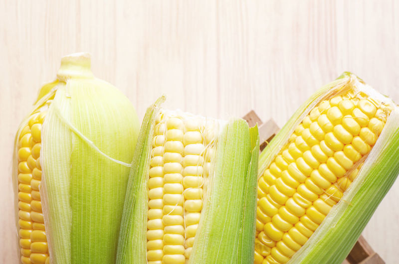 fresh raw sweet corn on the cob kernels over wooden background Corn Food And Drink Food Yellow Vegetable Still Life Sweetcorn Freshness Corn On The Cob Green Color Healthy Eating Indoors  Close-up Wellbeing No People Raw Food Table Corn - Crop Studio Shot High Angle View