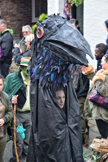 Jack In The Green Festival Jack In The Green May Day May Day 2017 East Sussex Pagan Hastings Headwear Rook Crow Black Black Crow Outdoors City Street Adult Arts Culture And Entertainment Celebration Pagan Festival Performing Arts Event Carnival Spirit Disguise Parade Headdress Cultures