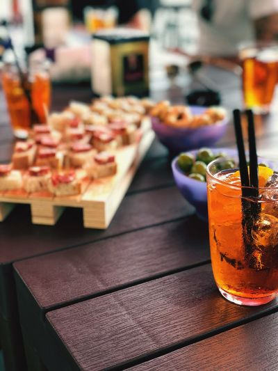 Close-up of food and drink on table in restaurant
