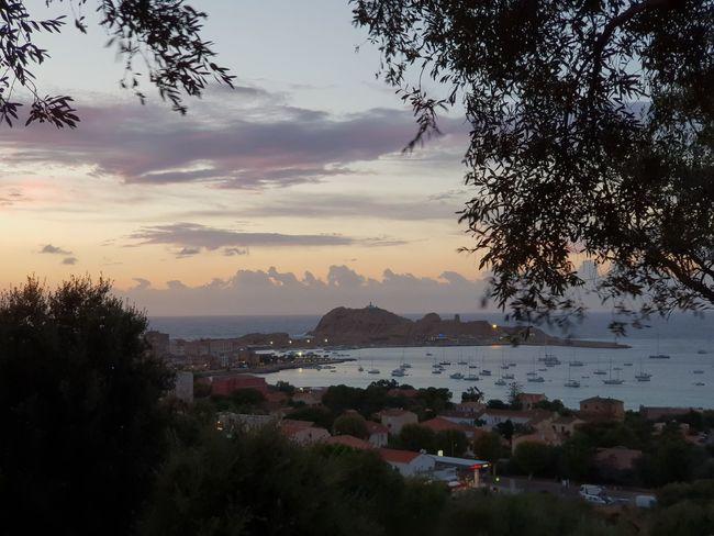 corsica Idyllic City Tree Water Mountain Sea Sunset Beauty Beach Arrival Nautical Vessel