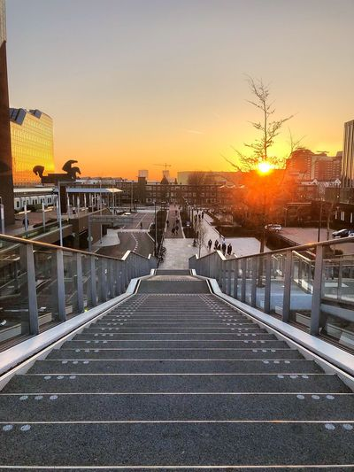 Steps Utrecht Centraal Sunset Utrecht Dutch Netherlands Holland Sky Sunset Architecture Nature No People Built Structure City The Way Forward Transportation Outdoors Railing Orange Color